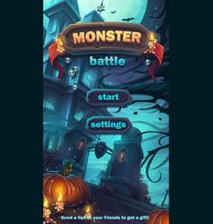 Monster battle gui start playing field vector