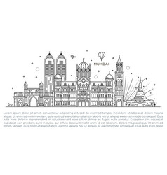 Mumbai detailed skyline travel and tourism vector