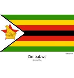 National flag of Zimbabwe with correct proportions vector