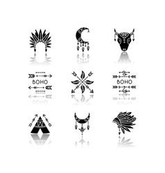 Native american accessories drop shadow black vector