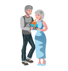 old man giving bouquet to old woman vector image