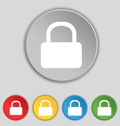 Pad Lock icon sign Symbol on five flat buttons vector