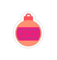 Paper sticker on white background christmas ball vector