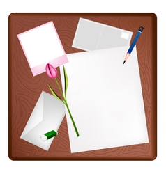 Pencil and Picture Frame on Blank Page and Letter vector image