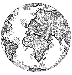 Planet earth sketched doodle vector