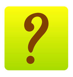 question mark sign brown icon at green vector image