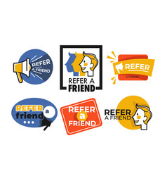 Refer friend web button isolated icons megaphone vector