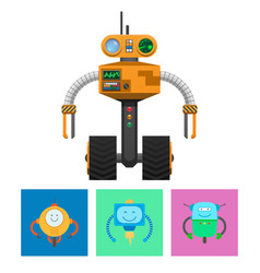 Robot with radar and wheels vector