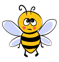 Sad little bee on white background vector