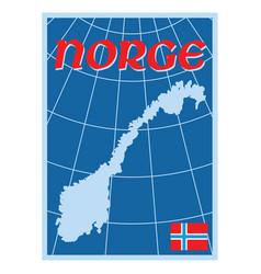 scandinavian design norway map with flag vector image