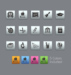school education icons - satinbox series vector image