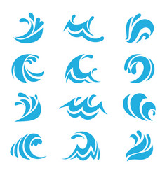 sea wave set ocean storm tide waves wavy river vector image