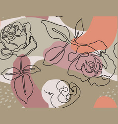 seamless pattern with rose flowers drawn vector image