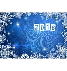 Seasonal card for year 2016 with frost backdrop vector image