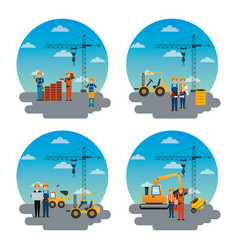 set of different construction worker and machinery vector image