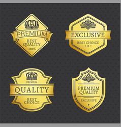 set of premium quality exclusive golden labels vector image