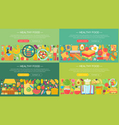 set trendy flat design concepts for food vector image