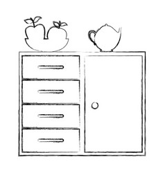 Silhouette of kitchen shelf and drawers with tea vector