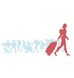 silhouette of traveling woman with cap backpack vector image