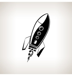 Silhouette rocket on a light background vector