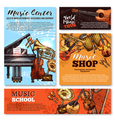 sketch musical instruments shop posters vector image