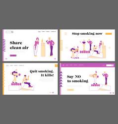 smokers and smoking addiction landing page vector image