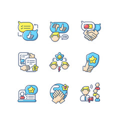 soft skills rgb color icons set vector image