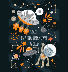 Space is a big unknown world poster design vector