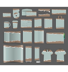 Stationery template design set with torn paper vector image