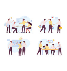 successful coworking teamwork flat vector image