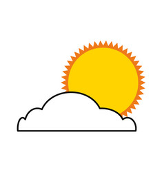 Summer sun with cloud isolated icon vector