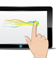 Tablet computer with hand drag on screen vector image