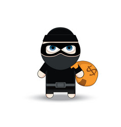 Thief flat character design bandit with big bag vector
