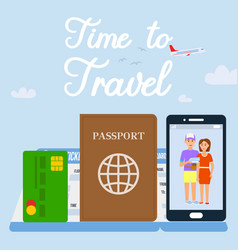 time to travel text social media banner vector image