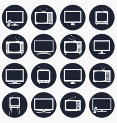 tv icons in flat style vector image