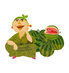 watermelon and seller vector image