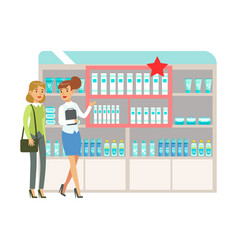 woman in pharmacy choosing and buying drugs and vector image