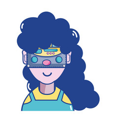 Woman with 3d eyeglasses virtual experience game vector