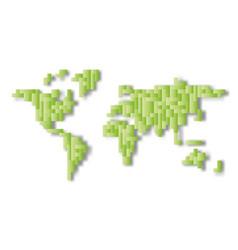 world map mosaic of green tetris blocks flat vector image