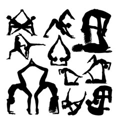 yoga couple poses silhouettes vector image