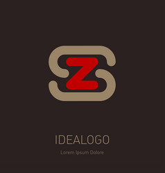 z and s - design element or icon initial monogram vector image