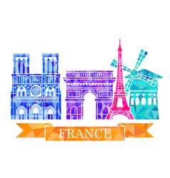 architectural landmarks of paris in polygonal vector image