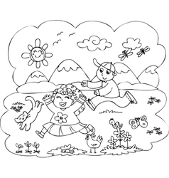 Children playing in countryside vector image