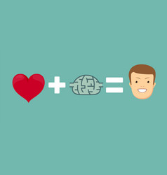 heart and brains will make you happy vector image
