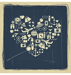 heart from summer icons vintage vector image