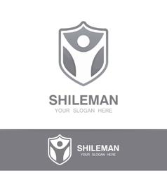 man and shield logo concept vector image vector image