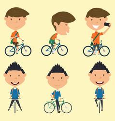 school boys on the bike vector image vector image