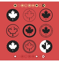 Canadian silhouette and line maple leaf icons set vector image vector image