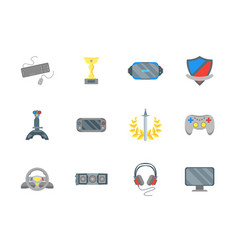 cartoon cyber sport color icons set vector image vector image