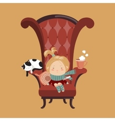 Cute girl sick cold vector image